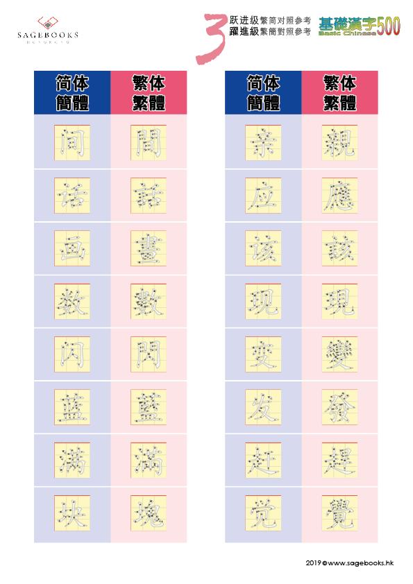 繁簡對照 參考表 Traditional & Simplified Chinese Writing System Level 3