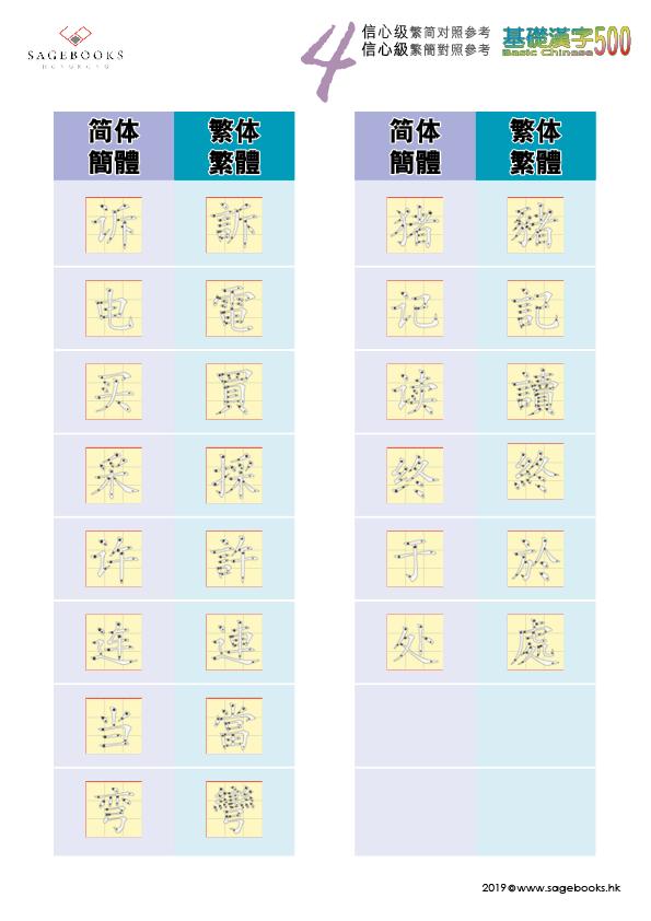 繁簡對照 參考表 Traditional & Simplified Chinese Writing System Level 4